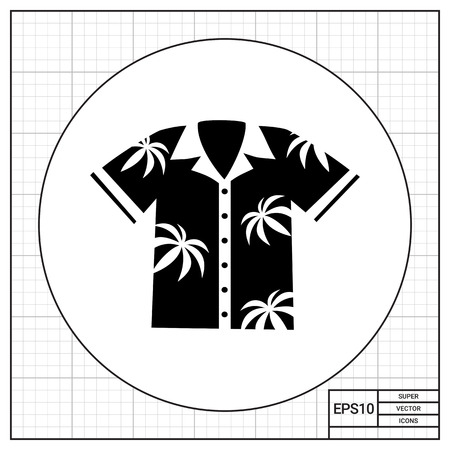 Hawaiian Aloha shirt with palm print. Summer, resort, beach. Shirt concept. Can be used for topics like clothes, fashion, tourism. Illustration