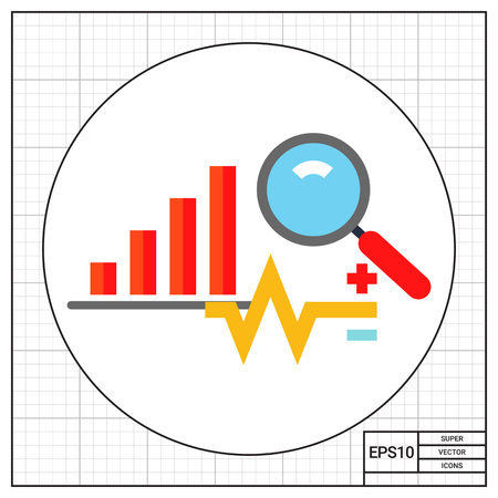 on the lookout: Graph, data, diagram and magnifying glass. Assessment, report, strategy. Business analysis concept. Can be used for topics like business, management, finance, business analysis, trading.