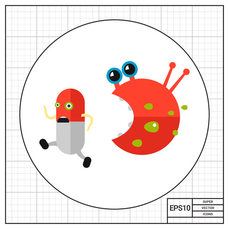 infection: Antibiotic cartoon character running from bacteria character. Capsule, pill, infection, virus. Infection concept. Can be used for topics like infection, health care, disease