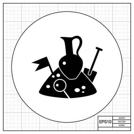 archeology: Monochrome vector icon of jug, spade, flag and loupe on pile of soil representing archeology concept