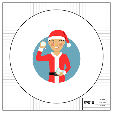 early teens: Male character, portrait of smiling Asian teenage boy wearing Santa costume, holding snowballs Illustration