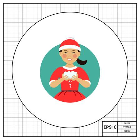 palle di neve: Personaggio femminile, ritratto sorridente asiatico adolescente indossare il costume Santa, palle di neve in possesso di