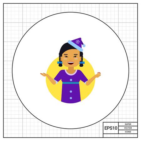 santa costume: Female character, portrait of Asian teenage girl wearing blue Santa costume
