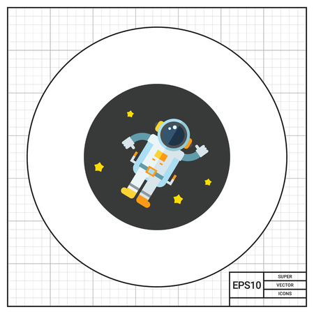 zero gravity: Astronaut in outer space and stars. Zero gravity, solar system, exploration. Space concept. Can be used for topics like astronomy, physics, science. Illustration