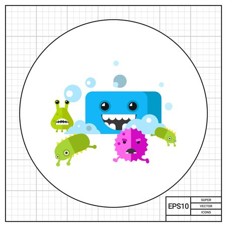 disease prevention: Bacteria characters running from smiling soap cartoon character. Virus, infection, health care, cleanness. Health care concept. Can be used for topics like infection, health care, disease prevention