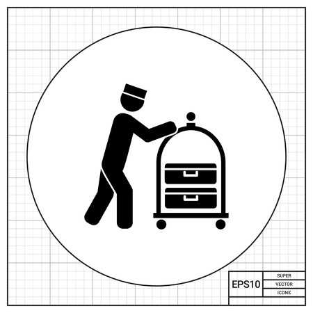 hospitality: Male silhouette pushing luggage cart. Bell boy, hotel, baggage. Hospitality concept. Can be used for topics like hotel, travel, hospitality industry, service