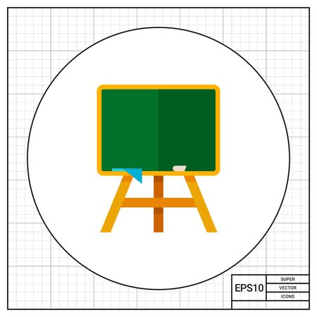 Multicolored vector icon of green school blackboard on wooden stand with chalk and cloth Stock Photo