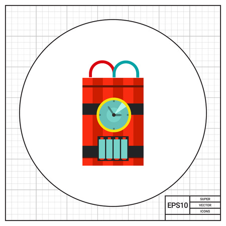 detonating dynamite: Bomb with timer icon. Multicolored vector illustration of ticking bomb with red and blue wire