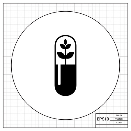 cytology: Monochrome vector icon of plant sprout representing botany concept