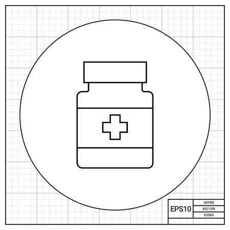prescription bottle: Bottle with medical cross label. Care, prescription, cure. Pills concept. Can be used for topics like medicine, health, pharmacy.