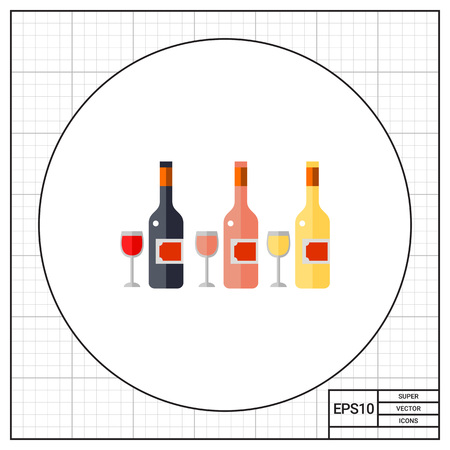 wine testing: Bottles of rose, white and red wine and glasses. Party, bar, testing. Wine concept. Can be used for topics like lifestyle, wine production, spirits.