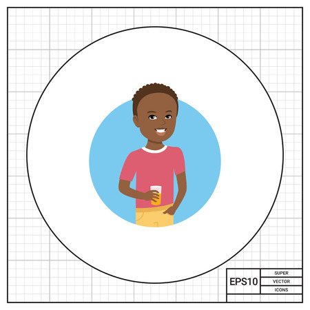 early teens: Male character, portrait of smiling African American boy holding glass of juice Illustration