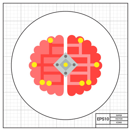 cybernetics: Human brain with electric scheme. Cybernetics,  engineering, science, invention. Cybernetics concept. Can be used for topics like science, technology, knowledge