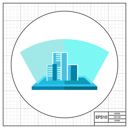 interference: Multicolored flat icon of blue hologram, three-dimensional model of buildings Illustration