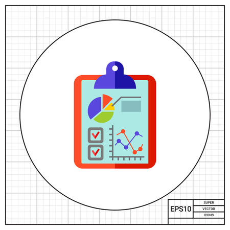 Business data, graph, diagram and quiz on clipboard. Planning, report, performances. Business data concept. Can be used for topics like business, management, finance, analysis.