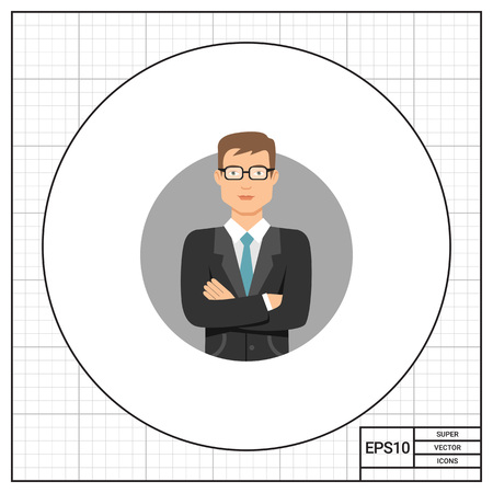 blank expression: Male character, portrait of young man wearing glasses and business suit