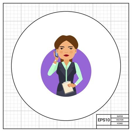 pinafore: Female character, portrait of smiling businesswoman holding clipboard and talking on phone Illustration
