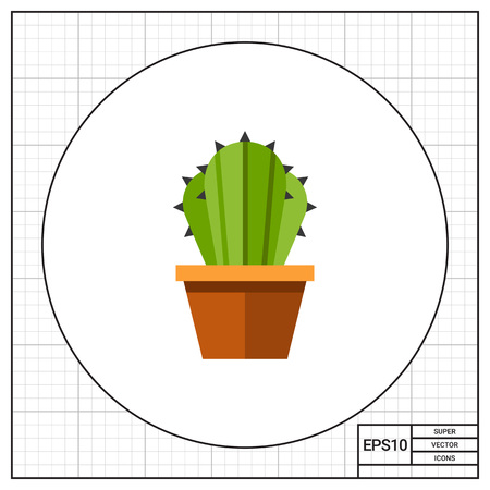 potting soil: Multicolored vector icon of cactus in flower pot Illustration