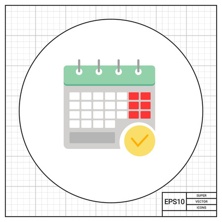 calendar page: Icon of calendar page with tick mark