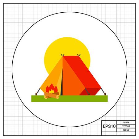 テント、キャンプファイヤーのイラスト。キャンプ テント、観光、余暇活動。キャンプのコンセプトです。ことができます夏の観光、キャンプ、休暇のようなトピックの使用