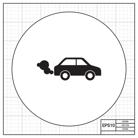 emitting: Vector icon of car emitting exhaust fumes Illustration