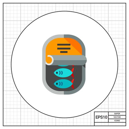 Canned fish in half opened can. Tasty, storage, snack. Canned food concept. Can be used for topics like fishing, food industry, cooking. Illustration