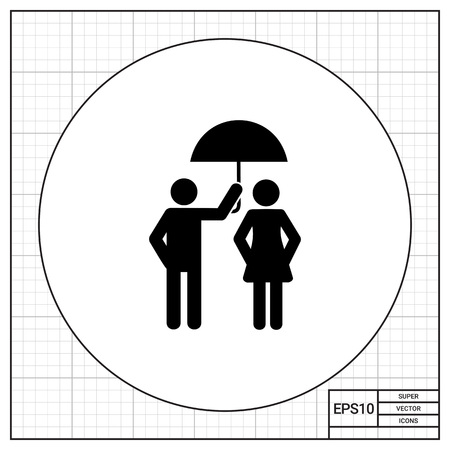 worrying: Man holding umbrella over woman. Care, relationship, protection from rain. Care concept. Can be used for relationship, weather, love
