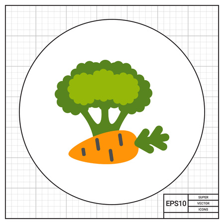 mediterranean diet: Icon of carrot and broccoli curd Illustration