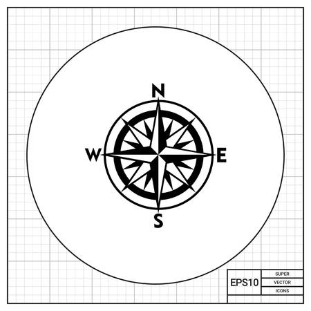 Monochrom-Vektor-Symbol der Kompassrose mit sechzehn Richtungen repräsentieren Kartographie Konzept Standard-Bild - 67882074