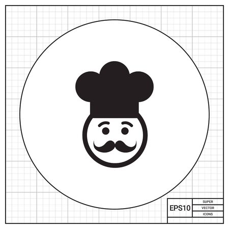 middle aged: Vector icon of chef face wearing moustache and hat Illustration