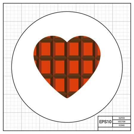 topics: Chocolate heart. Sweet, tasty, cocoa. Heart concept. Can be used for topics like love, cooking, food. Illustration