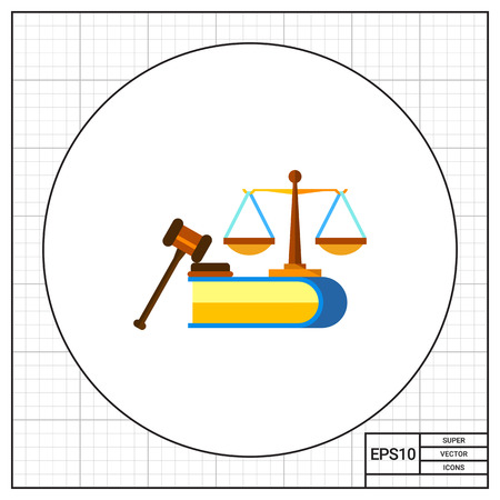 civil rights: Illustration of scales, book and judge gavel. Civil rights, constitution, legislation. Civil rights concept. Can be used for topics like legislation, civil rights, law