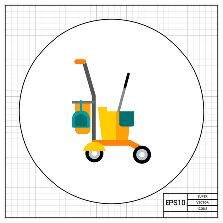 janitor: Multicolored vector icon of yellow janitor cart with cleaning equipment