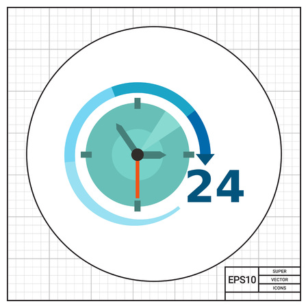hands  hour: Multicolored vector icon of clock with clock hands, arrow and 24 hour sign Illustration