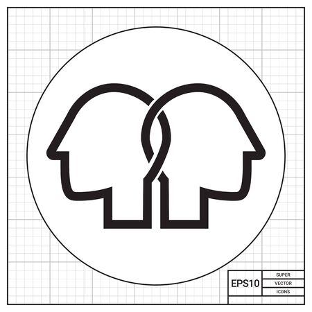 associates: Vector icon of two crossed human head silhouettes