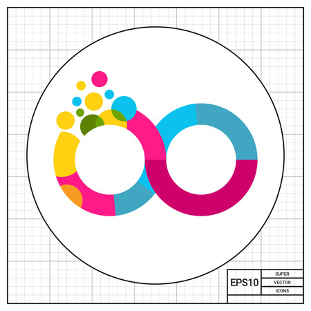 continuation: Colorful infinity sign. Eternity, bright, eight. Infinity concept. Can be used for topics like painting, style, mathematics. Illustration