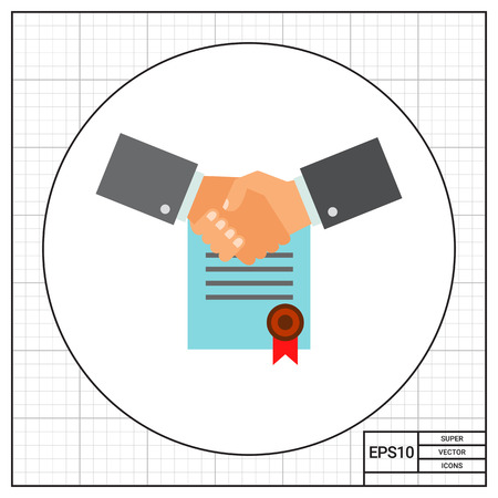signed: Multicolored vector icon of two shaking man hands on background of signed contract with red seal representing business commitment