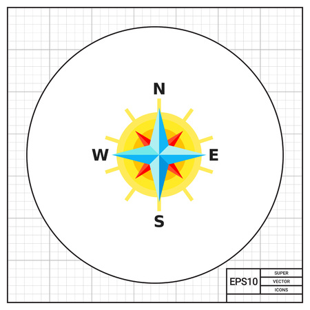 cartography: Compass rose with directions representing cartography concept