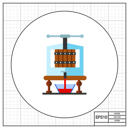 extracting: Equipment extracting juice. Grapes, fermentation, drink. Wine concept. Can be used for topics like wine production, industry, spirits. Illustration