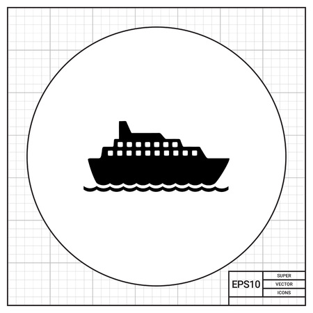 recess: Big cruise liner floating on sea surface. Summer, sea, travelling. Ship concept. Can be used for topics like vacation, transport, tourism.