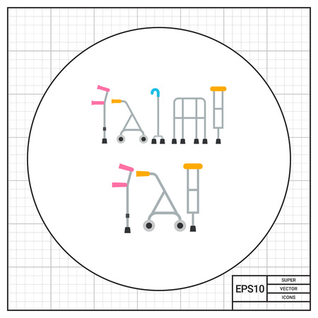 incapacitated: Multicolored flat icon of five different types of crutches
