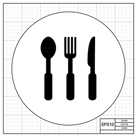 spoon fork: Monochrome vector icon of spoon, fork and knife, representing cutlery Illustration