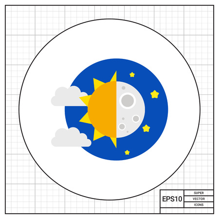 night and day: Illustration of sun with clouds and moon with stars. Day and night, day time, night time. Day and night concept. Can be used for topics like day time, night time, nature Illustration