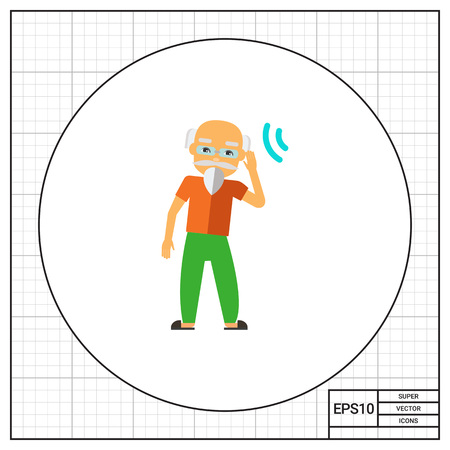 unable: Deaf old man trying to hear sound. Disability, disease, aid. Deafness concept. Can be used for topics like disability, care, medicine. Illustration