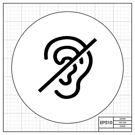 Crossed out ear. Invalid, silence, sense. Disabled concept. Can be used for topics like medicine, health, marketing.