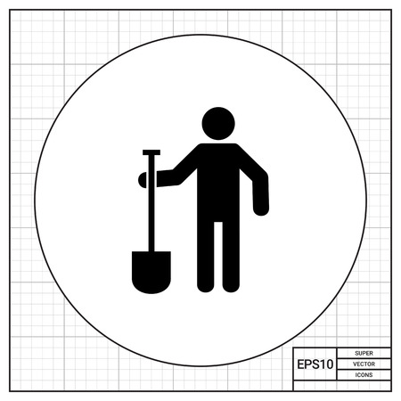 digging: Man holding spade. Soil, tool, farm. Digging concept. Can be used for topics like agriculture, construction, farming. Illustration