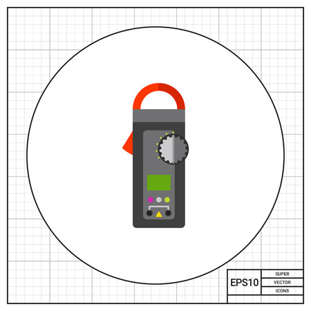 electricity meter: Digital clamp meter. Equipment, accuracy, voltage. Measurement concept. Can be used for topics like electricity, electronics, technology.