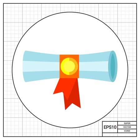 credentials: Diploma scroll banded with red ribbon. Learning, knowledge, graduation. Diploma concept. Can be used for topics like study, teaching, education. Illustration