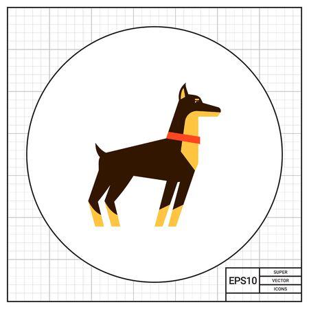 Multicolored vector icon of standing doberman dog