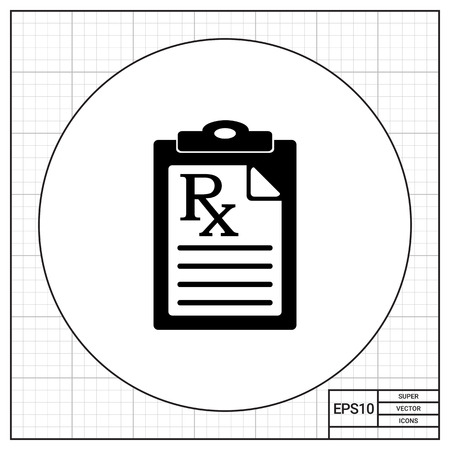 curing: Document with medical prescription. Instruction, curing, care. Prescription concept. Can be used for topics like medicine, healthcare, health, pharmacology. Illustration